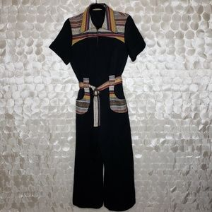 Vintage 70's belted black wide leg jumpsuit romper